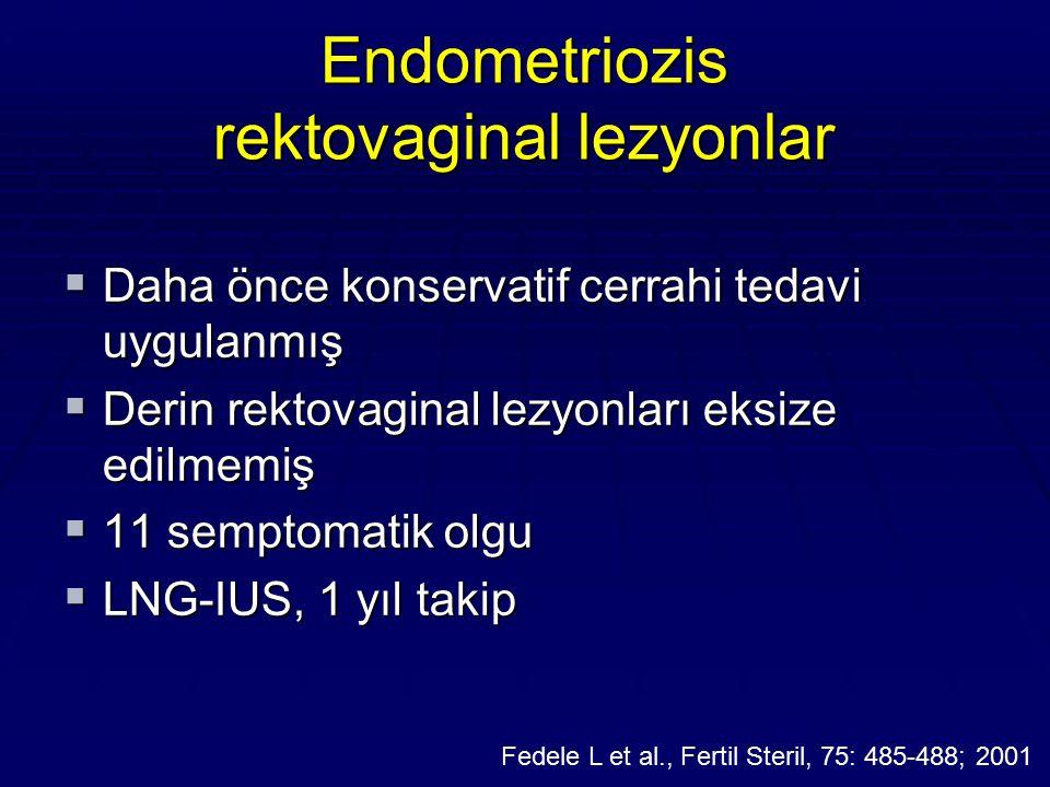 Endometriozis rektovaginal lezyonlar  Daha önce konservatif cerrahi tedavi uygulanmış  Derin rektovaginal lezyonları eksize edilmemiş  11 semptomat