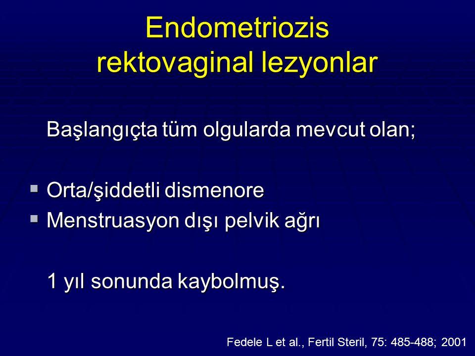 Endometriozis rektovaginal lezyonlar Başlangıçta tüm olgularda mevcut olan;  Orta/şiddetli dismenore  Menstruasyon dışı pelvik ağrı 1 yıl sonunda ka