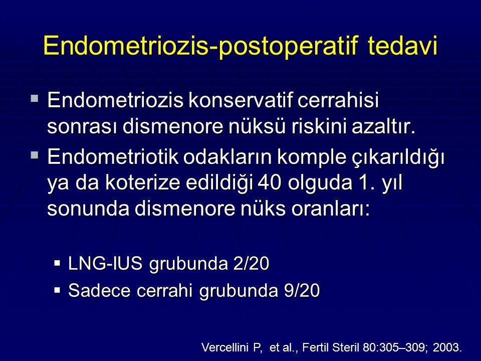 Endometriozis-postoperatif tedavi  Endometriozis konservatif cerrahisi sonrası dismenore nüksü riskini azaltır.  Endometriotik odakların komple çıka