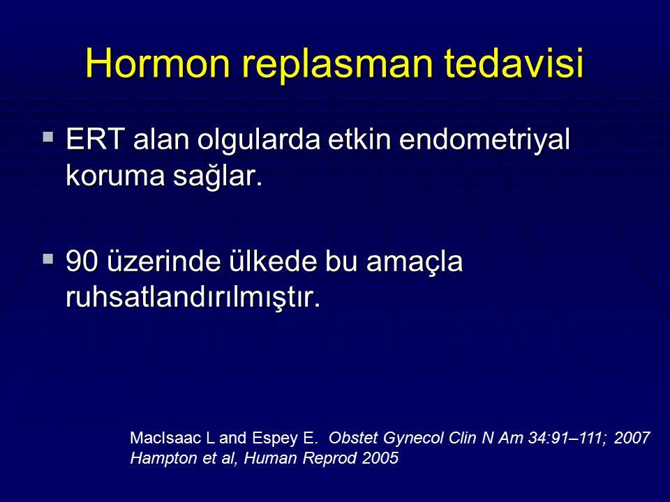 Hormon replasman tedavisi  ERT alan olgularda etkin endometriyal koruma sağlar.  90 üzerinde ülkede bu amaçla ruhsatlandırılmıştır. MacIsaac L and E