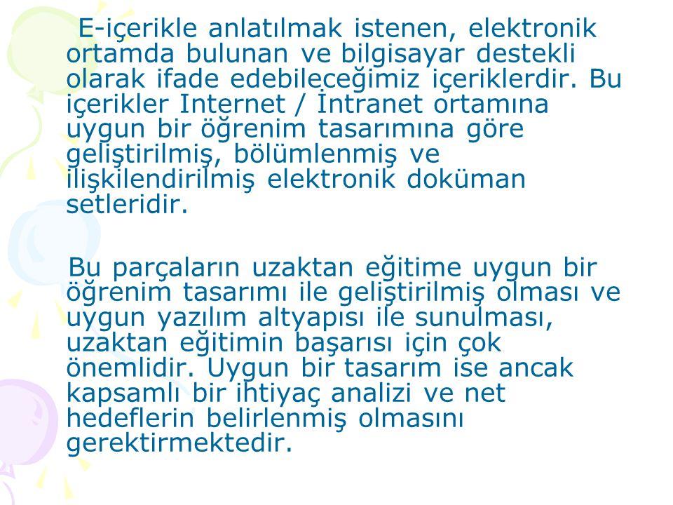 E-içerikle anlatılmak istenen, elektronik ortamda bulunan ve bilgisayar destekli olarak ifade edebileceğimiz içeriklerdir. Bu içerikler Internet / İnt