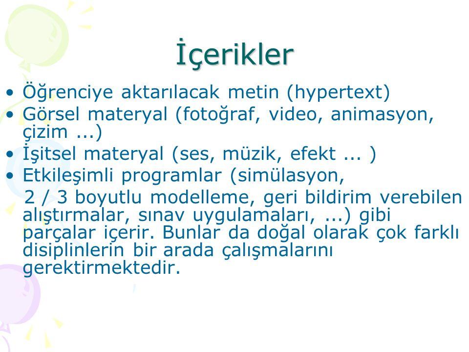 İçerikler Öğrenciye aktarılacak metin (hypertext) Görsel materyal (fotoğraf, video, animasyon, çizim...) İşitsel materyal (ses, müzik, efekt... ) Etki