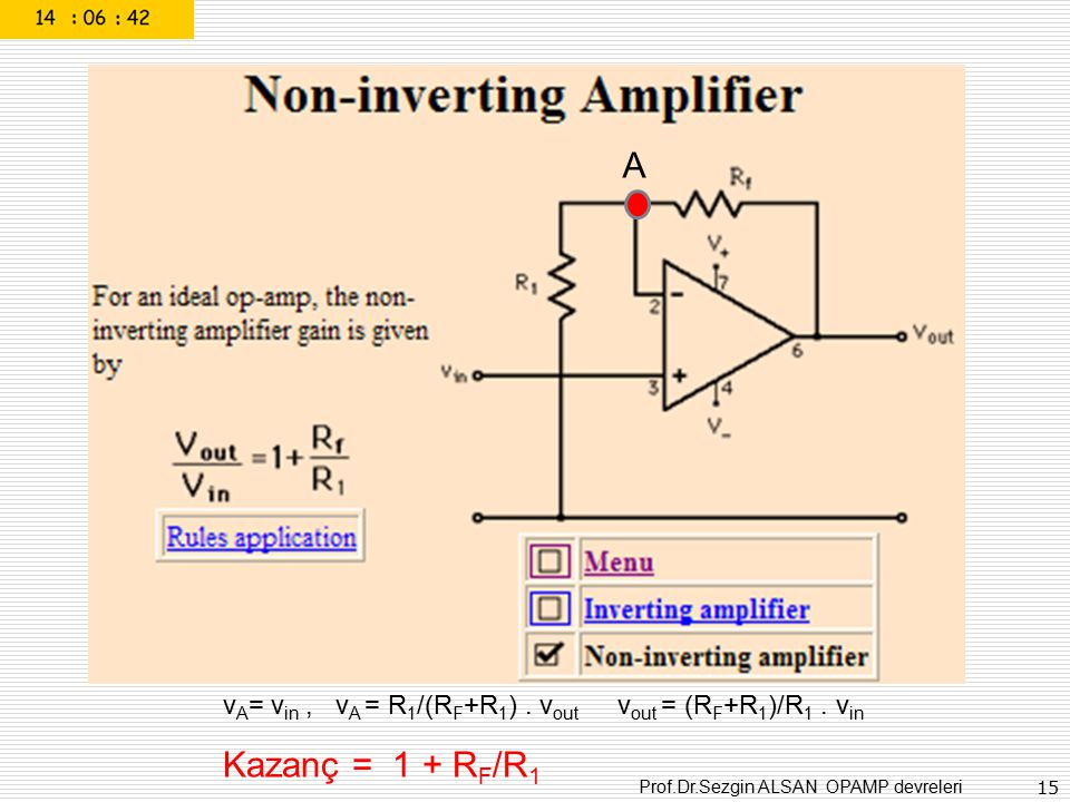 Prof.Dr.Sezgin ALSAN OPAMP devreleri 15 A v A = v in, v A = R 1 /(R F +R 1 ). v out v out = (R F +R 1 )/R 1. v in Kazanç = 1 + R F /R 1