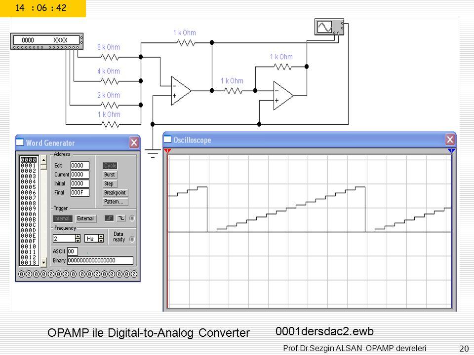Prof.Dr.Sezgin ALSAN OPAMP devreleri 20 OPAMP ile Digital-to-Analog Converter 0001dersdac2.ewb