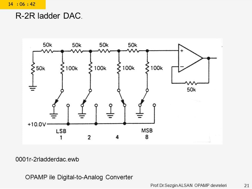 Prof.Dr.Sezgin ALSAN OPAMP devreleri 21 OPAMP ile Digital-to-Analog Converter R-2R ladder DAC. 0001r-2rladderdac.ewb