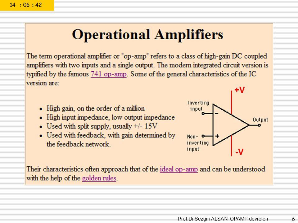 Prof.Dr.Sezgin ALSAN OPAMP devreleri 37 Vin- eşik seviyeli Non-inverting comparator Karşılaştırma seviyesi
