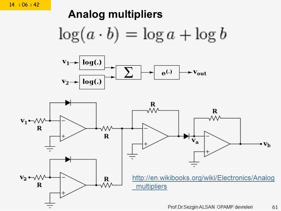 Prof.Dr.Sezgin ALSAN OPAMP devreleri 61 Analog multipliers http://en.wikibooks.org/wiki/Electronics/Analog _multipliers