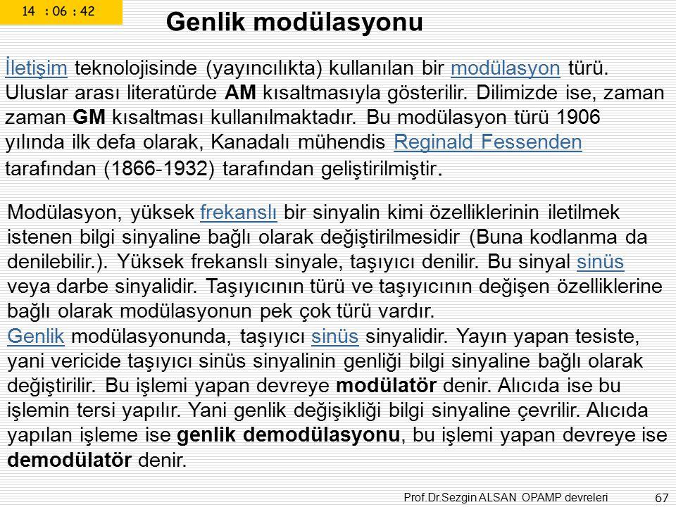Prof.Dr.Sezgin ALSAN OPAMP devreleri 67 Genlik modülasyonu İletişimİletişim teknolojisinde (yayıncılıkta) kullanılan bir modülasyon türü. Uluslar aras