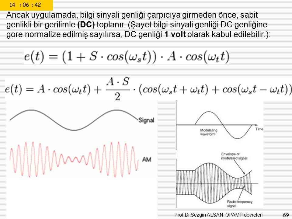 Prof.Dr.Sezgin ALSAN OPAMP devreleri 69 Ancak uygulamada, bilgi sinyali genliği çarpıcıya girmeden önce, sabit genlikli bir gerilimle (DC) toplanır. (