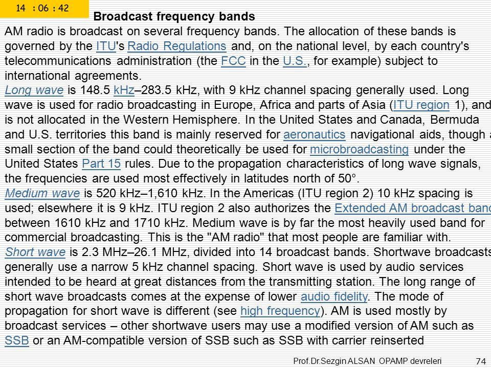 Prof.Dr.Sezgin ALSAN OPAMP devreleri 74 Broadcast frequency bands AM radio is broadcast on several frequency bands. The allocation of these bands is g