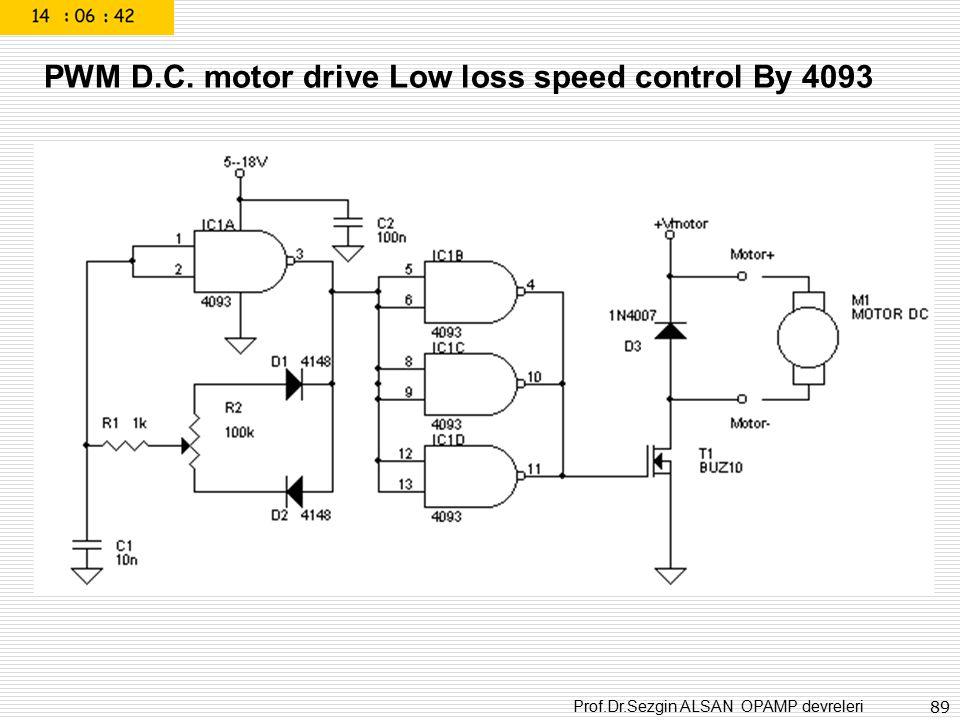 Prof.Dr.Sezgin ALSAN OPAMP devreleri 89 PWM D.C. motor drive Low loss speed control By 4093