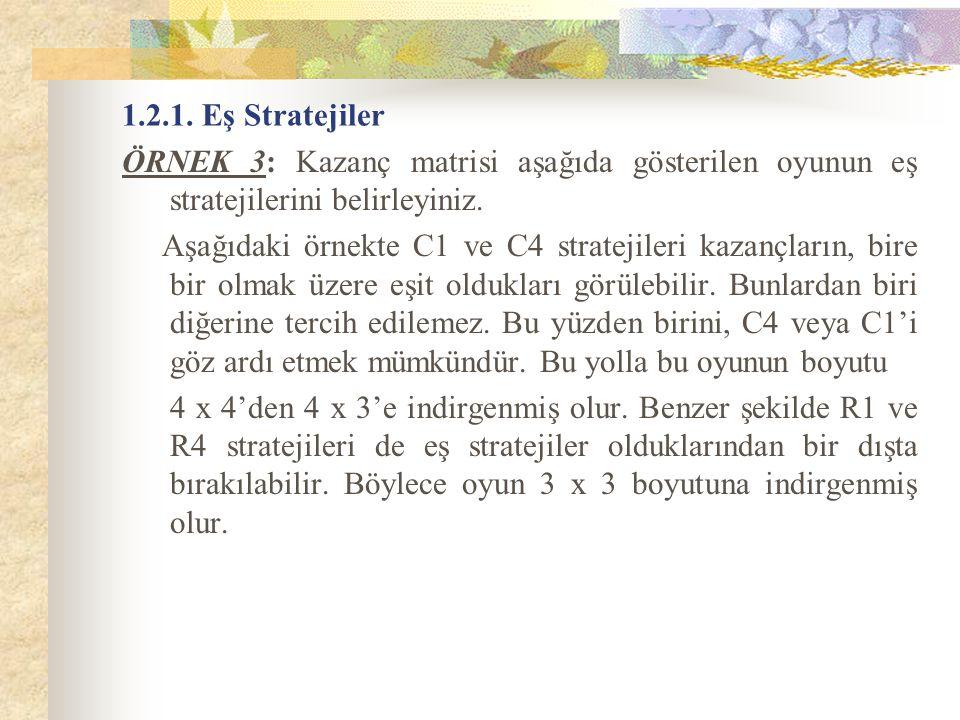 1.2.1. Eş Stratejiler ÖRNEK 3: Kazanç matrisi aşağıda gösterilen oyunun eş stratejilerini belirleyiniz. Aşağıdaki örnekte C1 ve C4 stratejileri kazanç