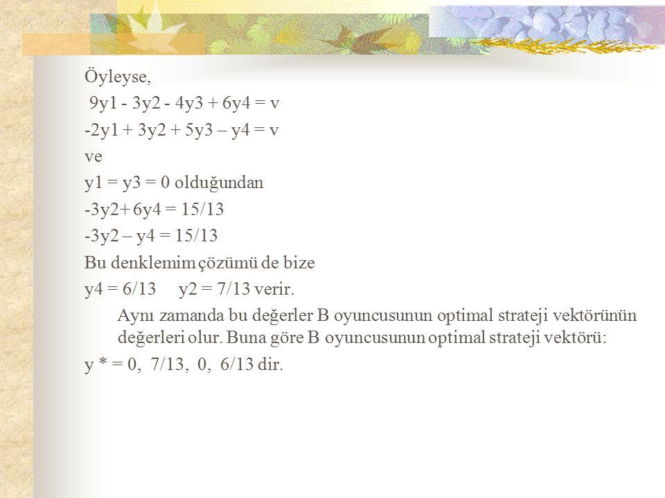 Öyleyse, 9y1 - 3y2 - 4y3 + 6y4 = v -2y1 + 3y2 + 5y3 – y4 = v ve y1 = y3 = 0 olduğundan -3y2+ 6y4 = 15/13 -3y2 – y4 = 15/13 Bu denklemim çözümü de bize