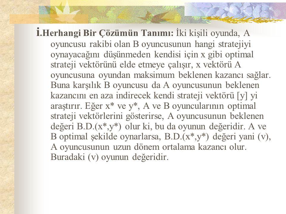 i.Herhangi Bir Çözümün Tanımı: İki kişili oyunda, A oyuncusu rakibi olan B oyuncusunun hangi stratejiyi oynayacağını düşünmeden kendisi için x gibi op