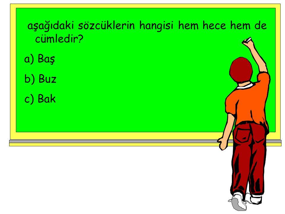 aşağıdaki sözcüklerin hangisi hem hece hem de cümledir? a) Baş b) Buz c) Bak