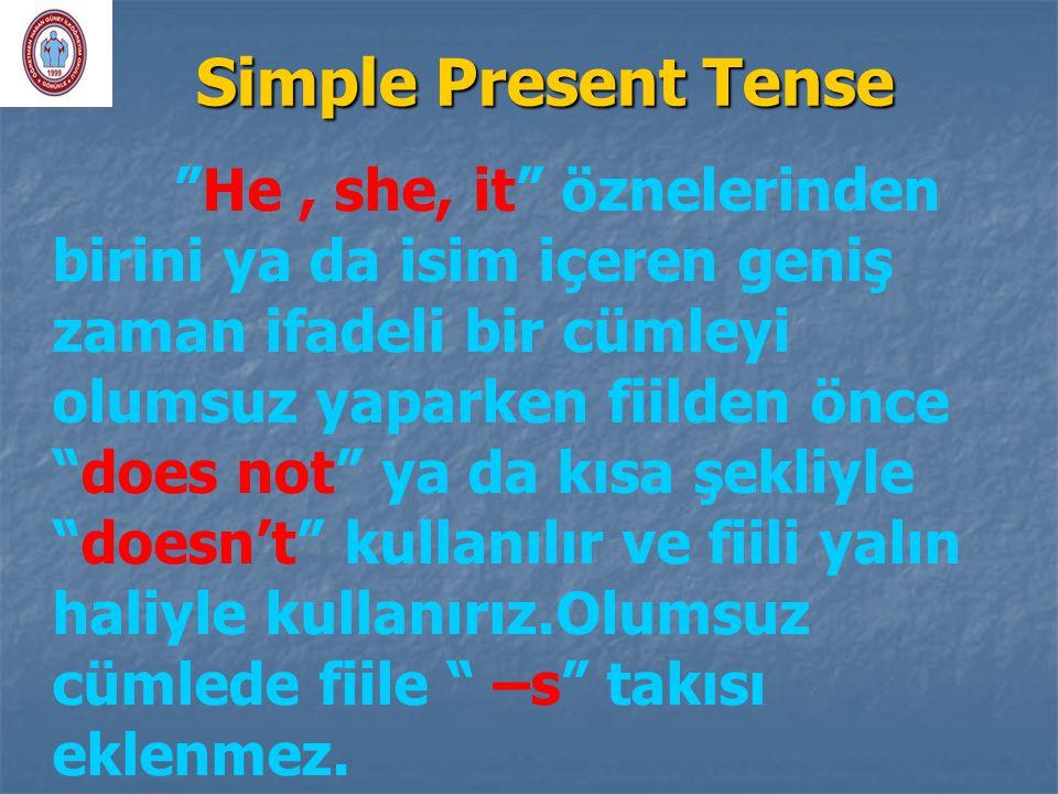 """Simple Present Tense """"He, she, it"""" öznelerinden birini ya da isim içeren geniş zaman ifadeli bir cümleyi olumsuz yaparken fiilden önce """"does not"""" ya d"""