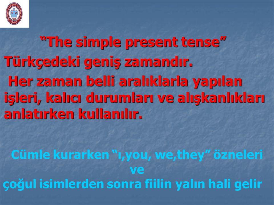 """""""The simple present tense"""" """"The simple present tense"""" Türkçedeki geniş zamandır. Her zaman belli aralıklarla yapılan işleri, kalıcı durumları ve alışk"""