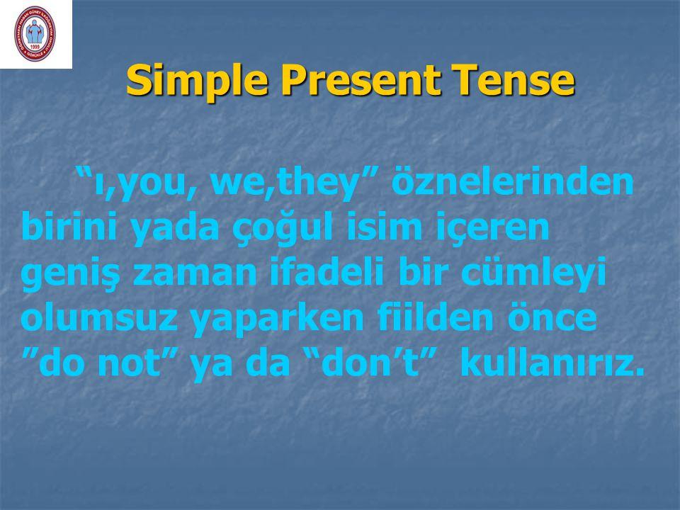 """Simple Present Tense """"ı,you, we,they"""" öznelerinden birini yada çoğul isim içeren geniş zaman ifadeli bir cümleyi olumsuz yaparken fiilden önce """"do not"""