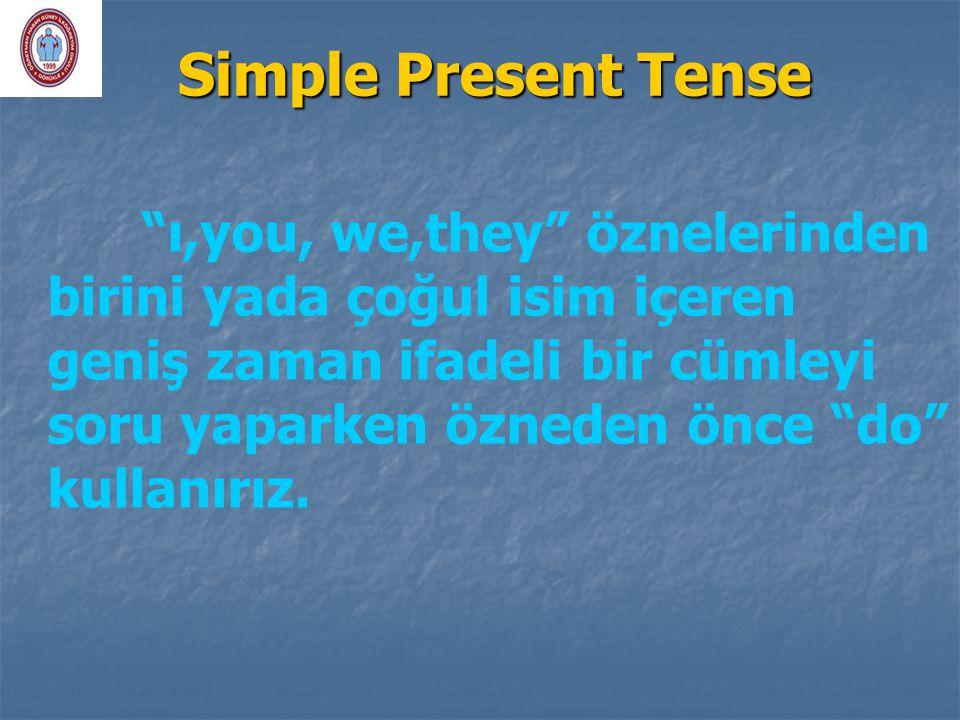 """Simple Present Tense """"ı,you, we,they"""" öznelerinden birini yada çoğul isim içeren geniş zaman ifadeli bir cümleyi soru yaparken özneden önce """"do"""" kulla"""