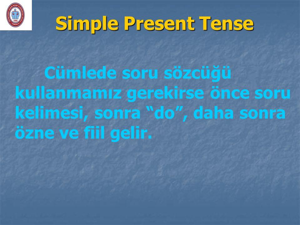 """Simple Present Tense Cümlede soru sözcüğü kullanmamız gerekirse önce soru kelimesi, sonra """"do"""", daha sonra özne ve fiil gelir."""