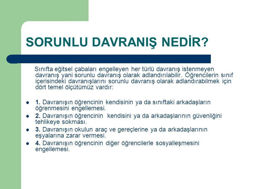 SORUNLU DAVRANIŞLARIN NEDENLERİ A.
