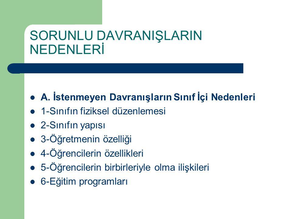 SORUNLU DAVRANIŞLARIN NEDENLERİ B.