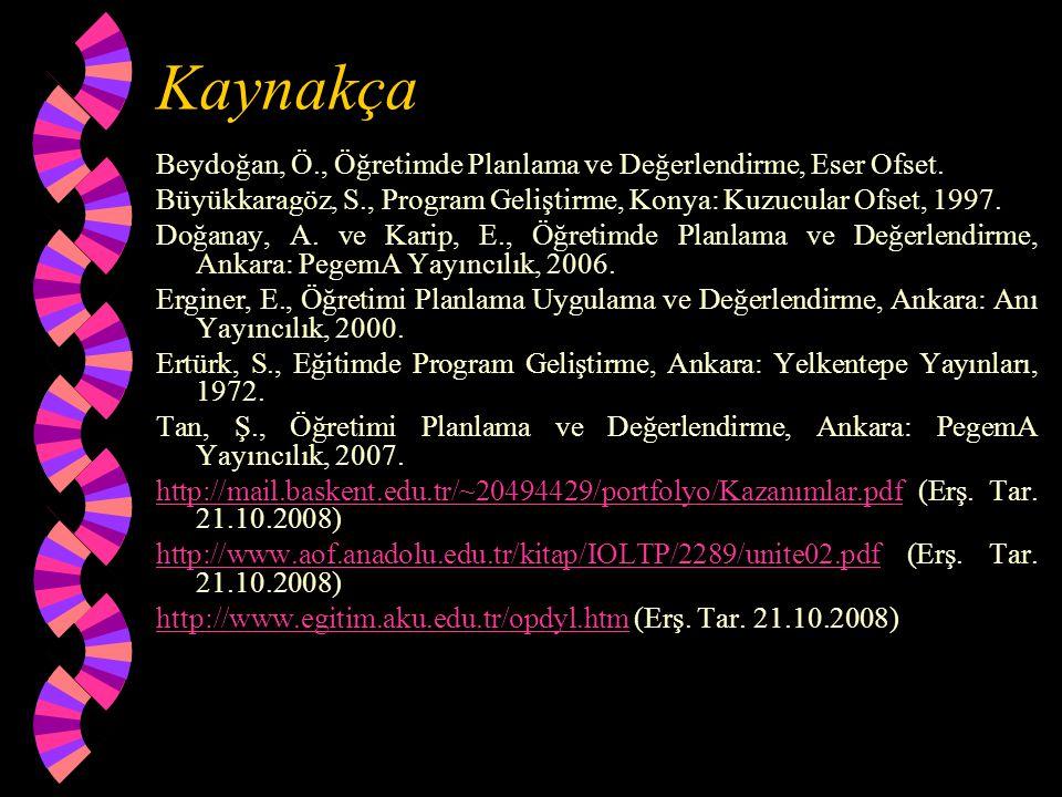 Kaynakça Beydoğan, Ö., Öğretimde Planlama ve Değerlendirme, Eser Ofset. Büyükkaragöz, S., Program Geliştirme, Konya: Kuzucular Ofset, 1997. Doğanay, A