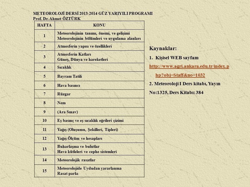 METEOROLOJİ DERSİ 2013-2014 GÜZ YARIYILI PROGRAMI Prof. Dr. Ahmet ÖZTÜRK HAFTAKONU 1 Meteorolojinin tanımı, önemi, ve gelişimi Meteorolojinin bölümler