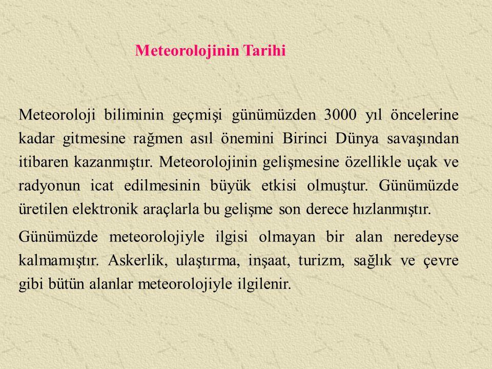 Meteorolojinin Temel İşlev Bölümleri 1.
