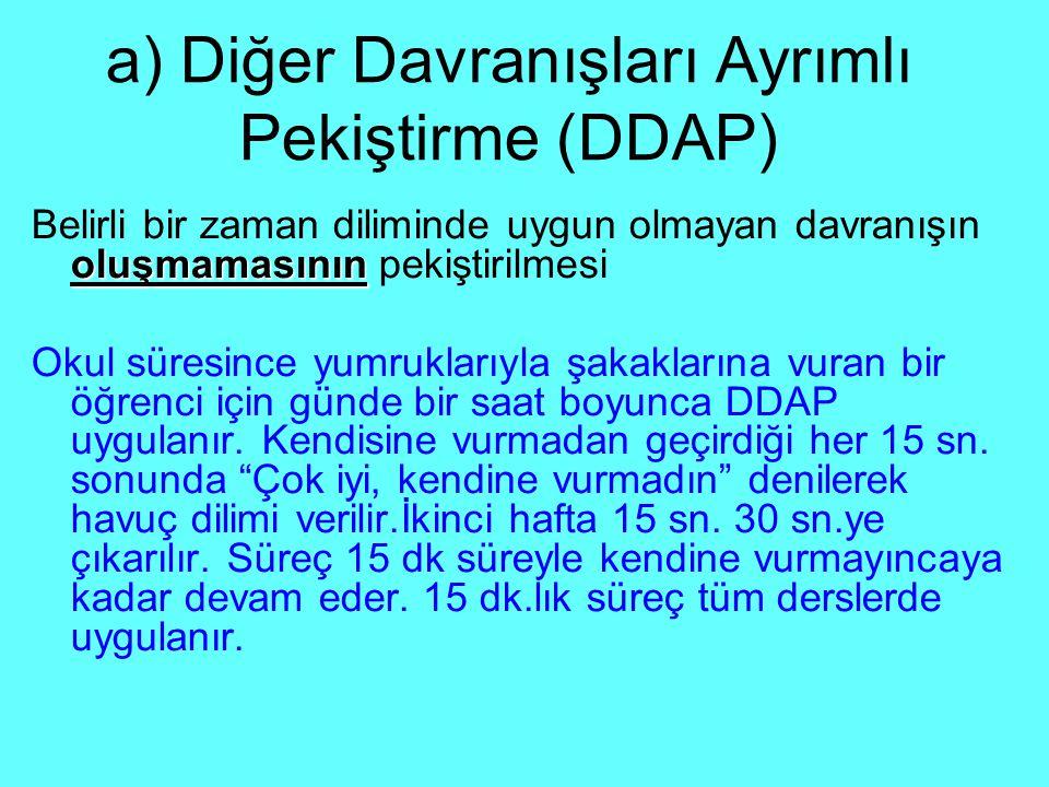 a) Diğer Davranışları Ayrımlı Pekiştirme (DDAP) oluşmamasının Belirli bir zaman diliminde uygun olmayan davranışın oluşmamasının pekiştirilmesi Okul s