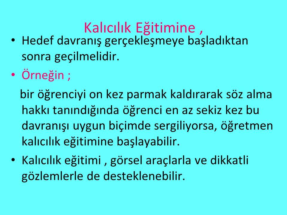 ORTAMANNENİN DAVRANIŞI SIKLIĞI 1.
