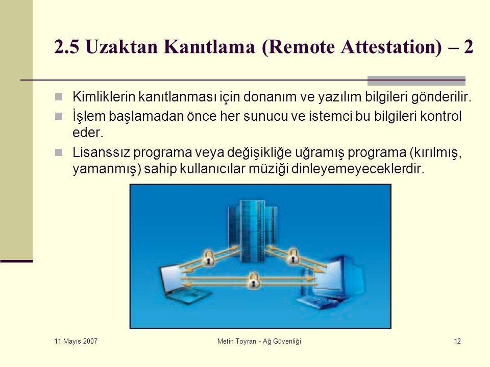 11 Mayıs 2007 Metin Toyran - Ağ Güvenliği12 2.5 Uzaktan Kanıtlama (Remote Attestation) – 2 Kimliklerin kanıtlanması için donanım ve yazılım bilgileri gönderilir.