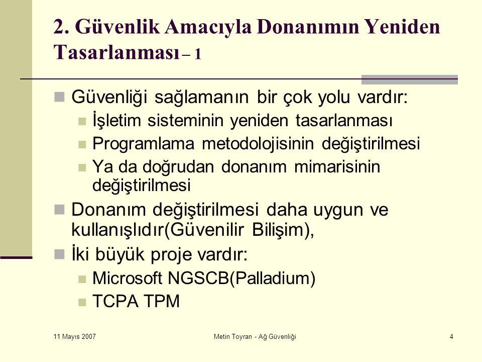 11 Mayıs 2007 Metin Toyran - Ağ Güvenliği4 2.