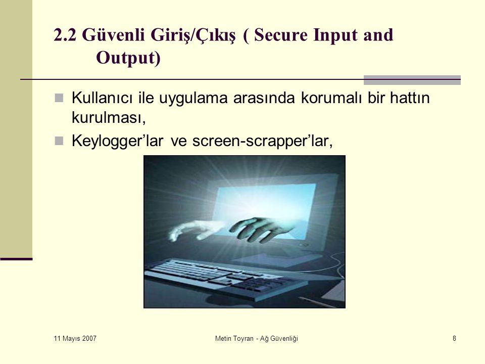 11 Mayıs 2007 Metin Toyran - Ağ Güvenliği8 2.2 Güvenli Giriş/Çıkış ( Secure Input and Output) Kullanıcı ile uygulama arasında korumalı bir hattın kurulması, Keylogger'lar ve screen-scrapper'lar,