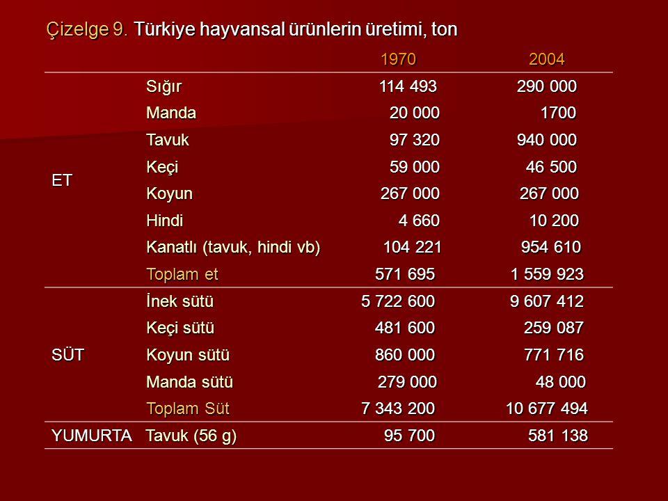 Çizelge 9. Türkiye hayvansal ürünlerin üretimi, ton 19702004 ET Sığır 114 493 290 000 Manda 20 000 20 000 1700 1700 Tavuk 97 320 97 320 940 000 Keçi 5