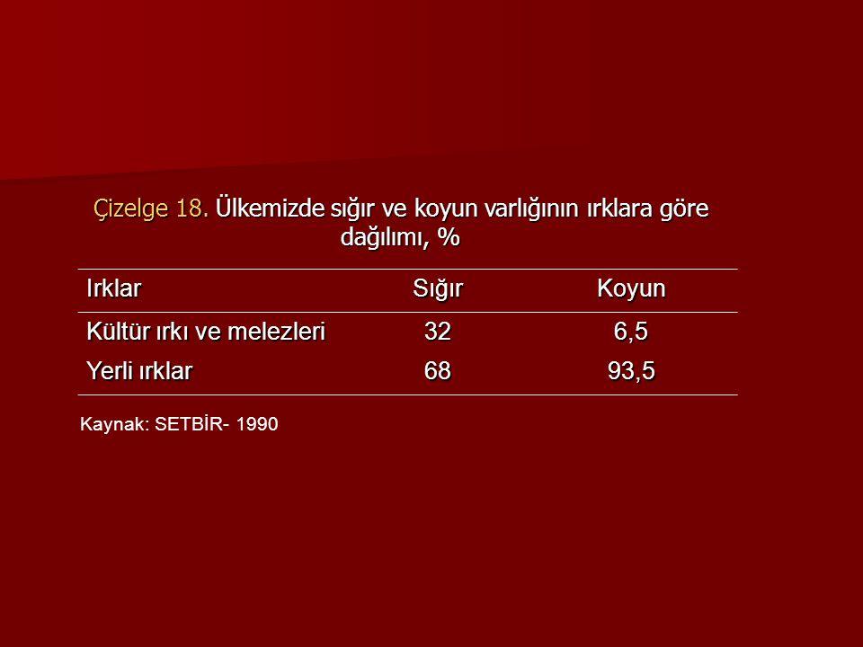 IrklarSığırKoyun Kültür ırkı ve melezleri 326,5 Yerli ırklar 6893,5 Çizelge 18.