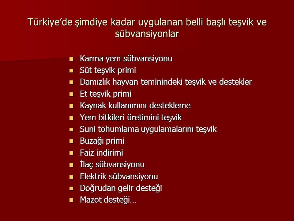 Türkiye'de şimdiye kadar uygulanan belli başlı teşvik ve sübvansiyonlar Karma yem sübvansiyonu Karma yem sübvansiyonu Süt teşvik primi Süt teşvik prim
