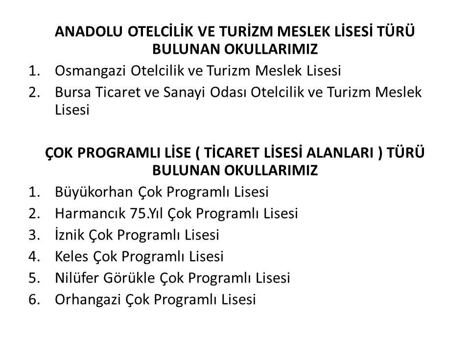ANADOLU OTELCİLİK VE TURİZM MESLEK LİSESİ TÜRÜ BULUNAN OKULLARIMIZ 1.Osmangazi Otelcilik ve Turizm Meslek Lisesi 2.Bursa Ticaret ve Sanayi Odası Otelc