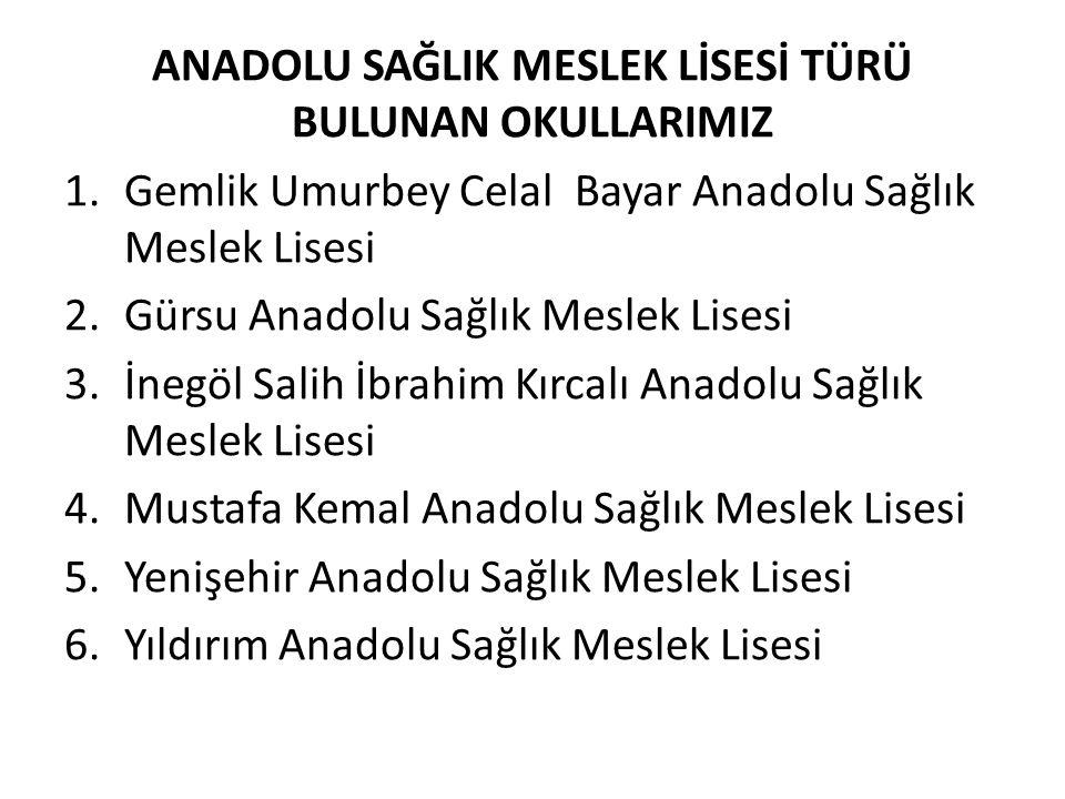 ANADOLU SAĞLIK MESLEK LİSESİ TÜRÜ BULUNAN OKULLARIMIZ 1.Gemlik Umurbey Celal Bayar Anadolu Sağlık Meslek Lisesi 2.Gürsu Anadolu Sağlık Meslek Lisesi 3