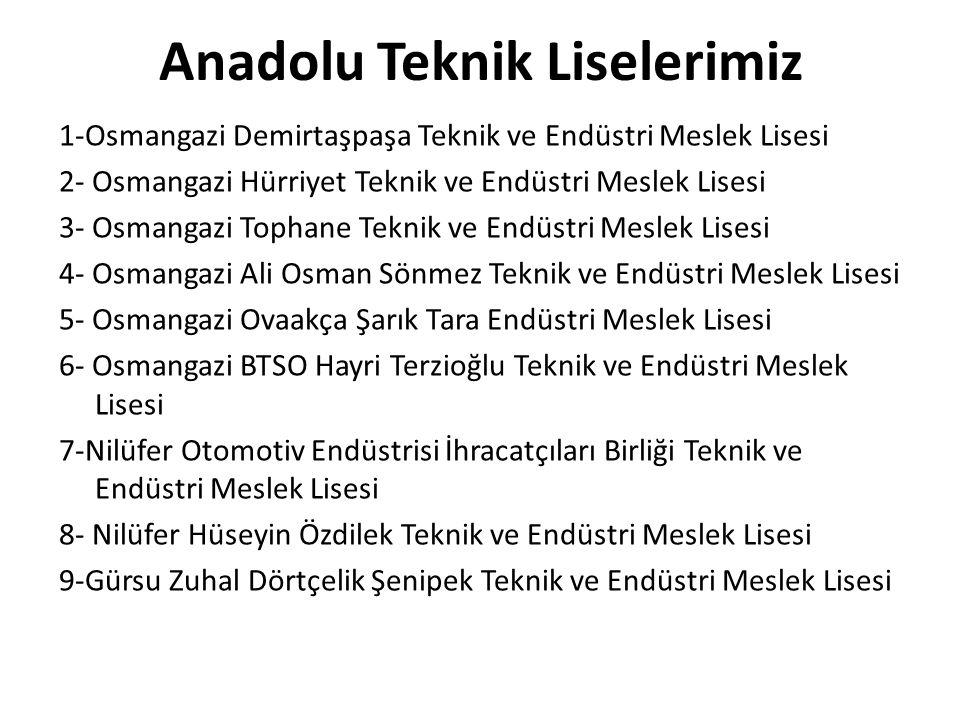 Anadolu Teknik Liselerimiz 1-Osmangazi Demirtaşpaşa Teknik ve Endüstri Meslek Lisesi 2- Osmangazi Hürriyet Teknik ve Endüstri Meslek Lisesi 3- Osmanga