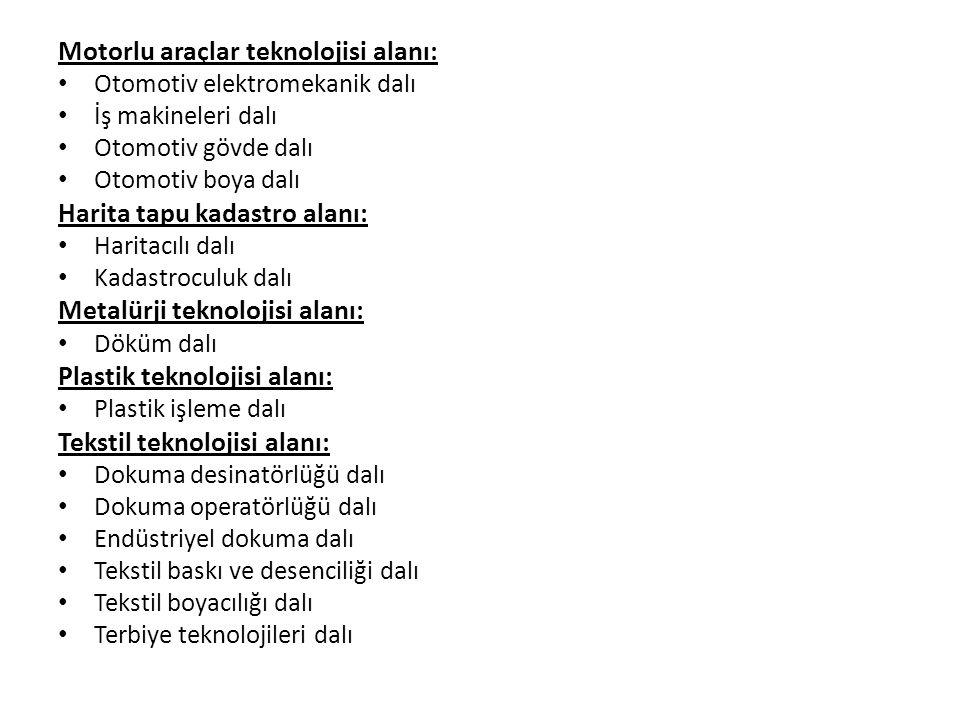 Motorlu araçlar teknolojisi alanı: Otomotiv elektromekanik dalı İş makineleri dalı Otomotiv gövde dalı Otomotiv boya dalı Harita tapu kadastro alanı: