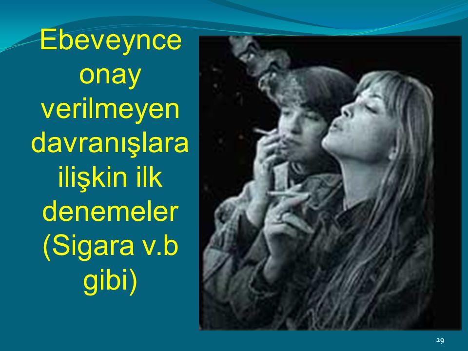 ‹#›31 Ebeveynce onay verilmeyen davranışlara ilişkin ilk denemeler (Sigara v.b gibi) 29