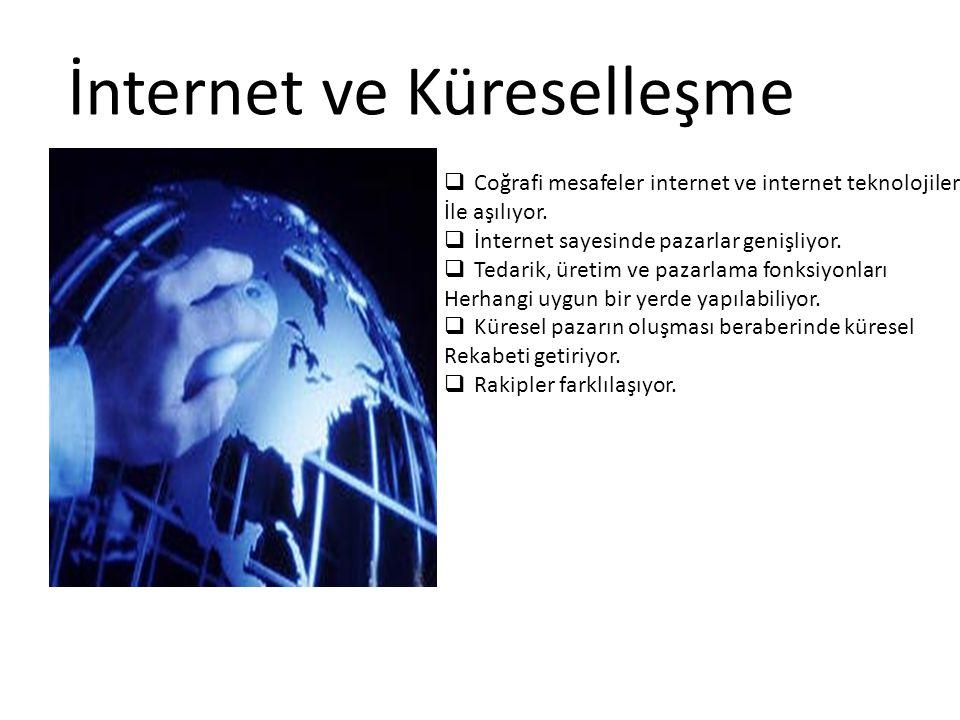 İnternet ve Küreselleşme  Coğrafi mesafeler internet ve internet teknolojileri İle aşılıyor.  İnternet sayesinde pazarlar genişliyor.  Tedarik, üre