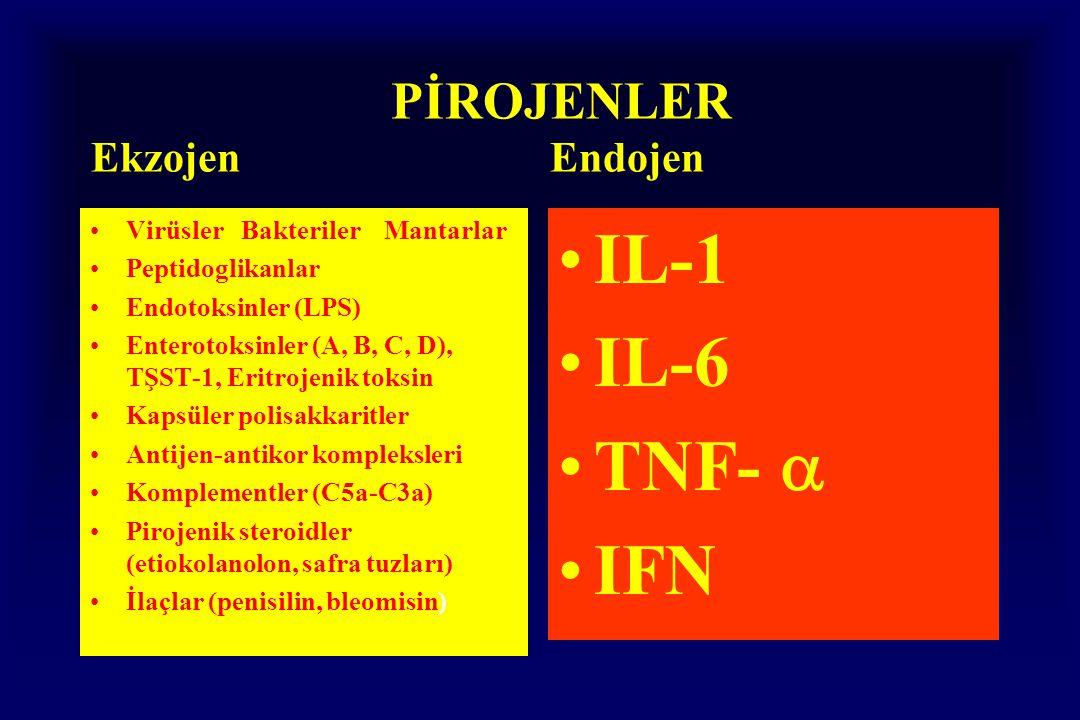 PİROJENLER Ekzojen Endojen Virüsler Bakteriler Mantarlar Peptidoglikanlar Endotoksinler (LPS) Enterotoksinler (A, B, C, D), TŞST-1, Eritrojenik toksin Kapsüler polisakkaritler Antijen-antikor kompleksleri Komplementler (C5a-C3a) Pirojenik steroidler (etiokolanolon, safra tuzları) İlaçlar (penisilin, bleomisin) IL-1 IL-6 TNF-  IFN
