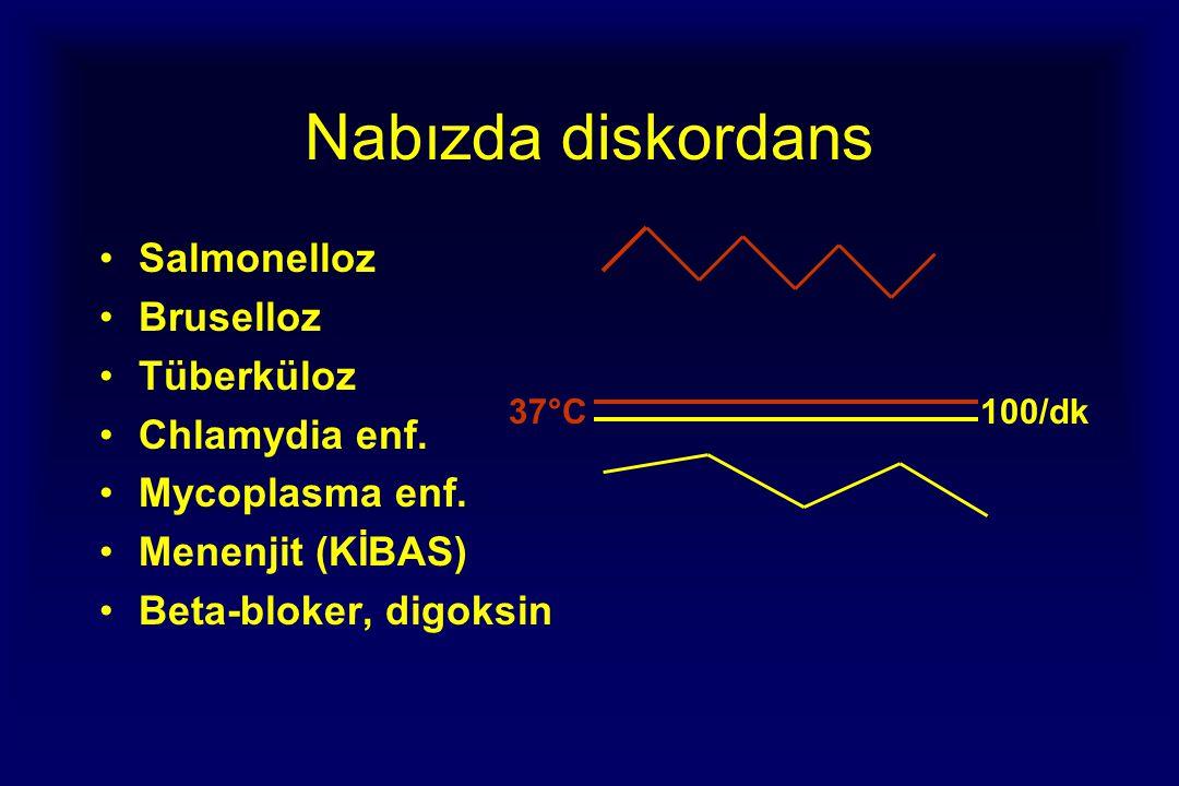 Nabızda diskordans Salmonelloz Bruselloz Tüberküloz Chlamydia enf.