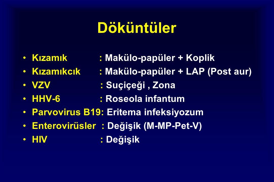 Döküntüler Kızamık : Makülo-papüler + Koplik Kızamıkcık : Makülo-papüler + LAP (Post aur) VZV : Suçiçeği, Zona HHV-6 : Roseola infantum Parvovirus B19: Eritema infeksiyozum Enterovirüsler : Değişik (M-MP-Pet-V) HIV : Değişik
