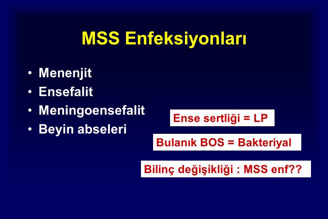 MSS Enfeksiyonları Menenjit Ensefalit Meningoensefalit Beyin abseleri Ense sertliği = LP Bulanık BOS = Bakteriyal Bilinç değişikliği : MSS enf??