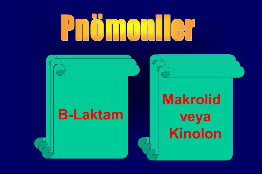 Tipik Atipik S.pneumoniae H.influenzae M.catarrhalis GNB S.aureus Mycoplasma pneumonaie Chlamydia pneumonae Legionella pneumophila B-Laktam Makrolid veya Kinolon