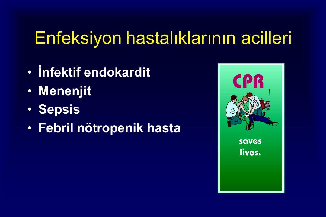 Enfeksiyon hastalıklarının acilleri İnfektif endokardit Menenjit Sepsis Febril nötropenik hasta