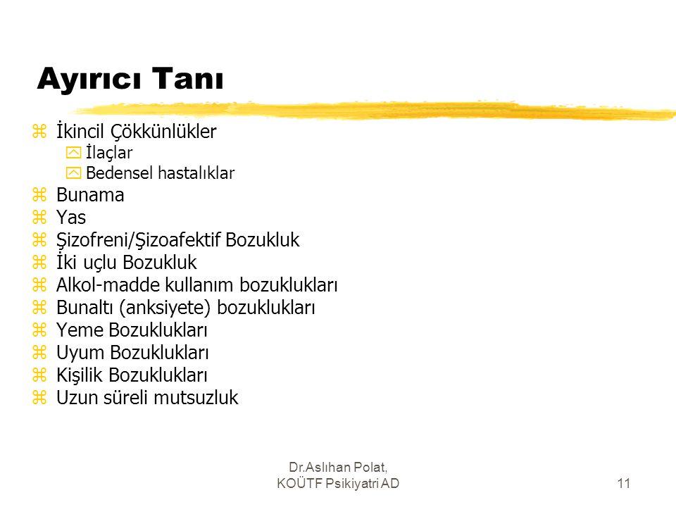 Dr.Aslıhan Polat, KOÜTF Psikiyatri AD11 Ayırıcı Tanı zİkincil Çökkünlükler yİlaçlar yBedensel hastalıklar zBunama zYas zŞizofreni/Şizoafektif Bozukluk